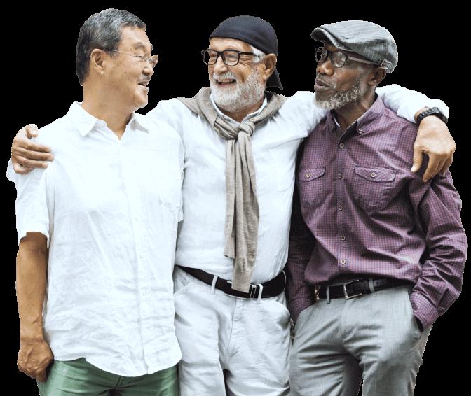 elderly men talking